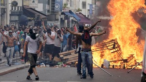 """Palestinian """"protestors"""" in Paris. Jew hatred is just another service they provide."""